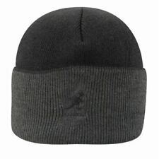 ac18017e Kangol Pull on Cuff Beanie Knit Winter Hat Black Gray Ribbed 2 Tone  Embroidered