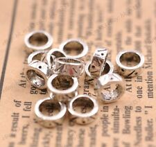 20Pcs Tibetan Silver Tube Big Hole Spacer Beads Jewelry Findings #3130(8X3MM)