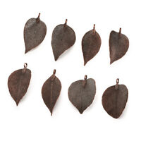 10pcs Electroplated Natural Leaf Big Pendants Metal Charms Links Jewelry 50~80mm