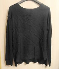 NWT DESIGNER VINCE $295 BLACK SILK FRONT SWEATER BACK TUNIC SHIRT SMALL