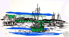 "W03 ~ Fishing Boats on 12 Ceramic Decals 1 1/2"" x 3"" Ocean, Water, Dock, Harbour"