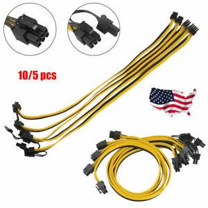 10/5/2 Pcs PCIE 6 pin male to Dual PCI-E 8 pin Male GPU Power Cable Splitter US