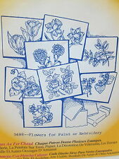Aunt Martha's Hot Iron On Transfers - Flowers for Paint or Embroidery #3698