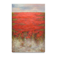NY Art - Red Poppies in Tuscany Modern Art 24x36 Oil Painting on Canvas - Sale!