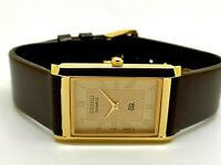 Seiko Quartz Super Slim Men's Gold Plated Excellent Rectangle Golden Face Watch