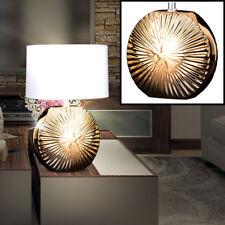 Keramik Tisch Lampe gold Wohn Zimmer Schalter Beleuchtung Textil Leuchte weiß