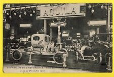 cpa RARE FRANCE PARIS XIIIème SALON de l'AUTOMOBILE 1912 Car Show STAND AQUILA
