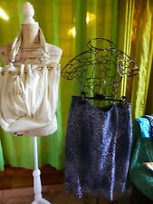 T 48 jupe léopard gris ,doublée +sac blanc offert