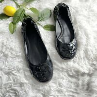 Tory Burch Womens Reva Ballet Flats Black Patent Leather Size 8.5