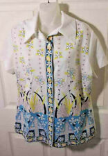 New listing Vtg 60's-70's 100% Polyester Floral Short Sleeve Butter Fly Collar Button Top