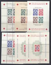 More details for poland 1945 dachau-allach red cross 6 souvenir sheets perf/imperf   4 scans