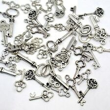 200 Mixed Lot Antique Silver KEY CHARMS Assorted Sizes 15-30mm w/ loop SteamPunk