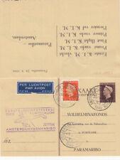 Briefkaart betaald antw (G294) eerste KLM Amsterdam Paramaribo mei 1949 retour