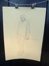 Man Standing Against a Rail Portrait 1953 Original Sketch By C. Kelm