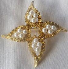 broche bijou vintage couleur or étoile gravé relief perles blanches * 351
