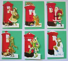 Set 6 Unusual Die-Cut Victorian Snowy Postbox Christmas Gift Tags