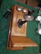 Vintage Antique Kellogg Hand Crank Wall Telephone Phone Oak Dovetail Wood Case