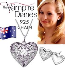 925 Sterling Silver THE VAMPIRE DIARIES Caroline Forbes Heart Vervain Necklace