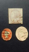 Old British stamps 1857 embossed,cut to shape, revenue stamp, Queen Victoria