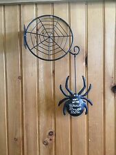 NEW Halloween Spiderweb Dangling Big Spider Don't Let the Dead Bugs Bite Metal