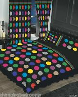 BLACK MULTI BE BOP PRIMARY SPOTS SINGLE DOUBLE KING SUPERKING DUVET COVER SET