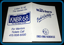 1985-86 GOLDEN STATE WARRIORS KNBR RADIO BASKETBALL POCKET SCHEDULE FREE SHIP