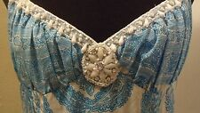 PLENTY by TRACY REESE Turquoise Blue Paisley Beaded Empire Waist Silk Dress 8