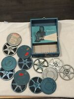 Bundle 8 Reel Metal Tape Box CanisterTape Case Holder Bell Howell Projector Book