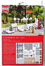 H0 BUSCH Steinmetz Figur Urne Grabsteine Grabplatten Schubkarre Paletten # 1091