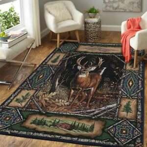 Deer Hunting 2 Area Rug Living Room Bedroom Floor Mat Carpet