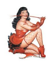 BETTIE PAGE STICKER - NEW HOT NAKED FISHNET Decal -E10