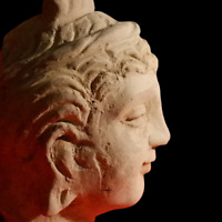 Ancient Greek Hellenistic Terracotta Head Sculpture Circa 200 BC Amazing Piece