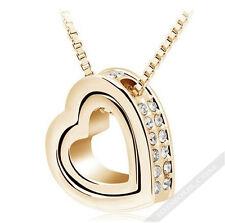 Halskette mit Herz Anhänger Gold mit Zirkon Diamant Damen Collier lang LA FERANI