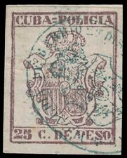 1880s 1CUBA Revenue Stamp - Policia 25 Centavos (On Paper) A18P