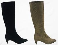 Fera-21 Women Knee High Kitten Low Heel Pointed Toe Side Zipper Boots