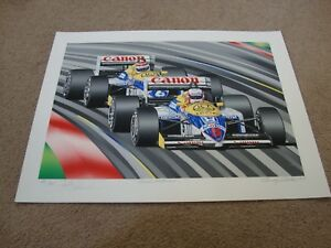 "NIGEL MANSELL ""TEAM WILLIAMS"" SERIGRAPH BY RANDY OWENS SIGNED BY NIGEL MANSELL"