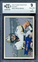 2001 Fleer Tradition #402 Drew Brees Rookie Card BGS BCCG 9 Near Mint+