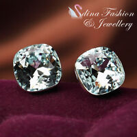 18K White Gold GP Made With Swarovski Crystal Stunning Cushion Cut Stud Earrings