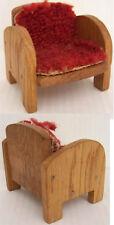 Alter Sessel Stuhl aus Holz mit Stoffauflage Puppenmöbel für die Puppenstube