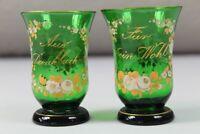 Emaille + Gold Malerei - 2 Gläser mit Spruch - Aus Dankbarkeit + Dein Wohl /S129