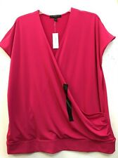 Women Banana Republic Hot Pink Cap Sleeve Faux Wrap Top Sz L