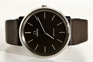 OMEGA De Ville Vintage swiss manual winding watch RARE DARK GRAY DIAL Cal. 625 !
