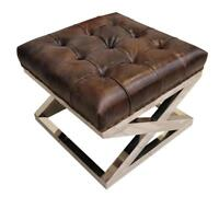 Chesterfield Buttoned Distressed Tobacco Brown Leather Metal Footstool Ottoman