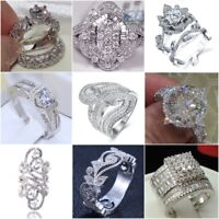 Fashion 925 Silver White Topaz Wedding Bridal Ring Women Men's Jewelry Size 6-10