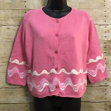 Michael Simon New York Cardigan Sweater Medium Pink Button Front Felted Waves