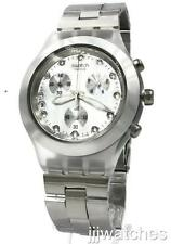 New Swatch Irony Full Blooded Silver Chronograph Date Watch 43mm SVCK4038G