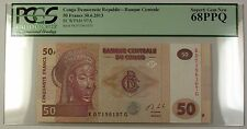30.6.2013 Congo Democratic Republic 50 Francs Note SCWPM# 97A PCGS GEM 68 PPQ