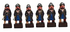 """4""""H Set of 6 Hand Carved Peg Leg Pirates Collectible Figurines Captain Themed"""