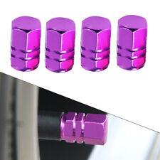 4x Purple Aluminum Car Tire Wheel Rims Stem Air Valve Caps Tyre Cover Accessory