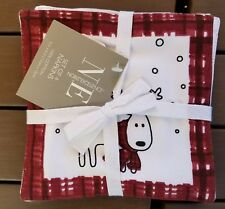 """New ListingChristmas Reindeer Cocktail Napkins Set Of 4 White With Red Plaid Border 6""""X6"""""""